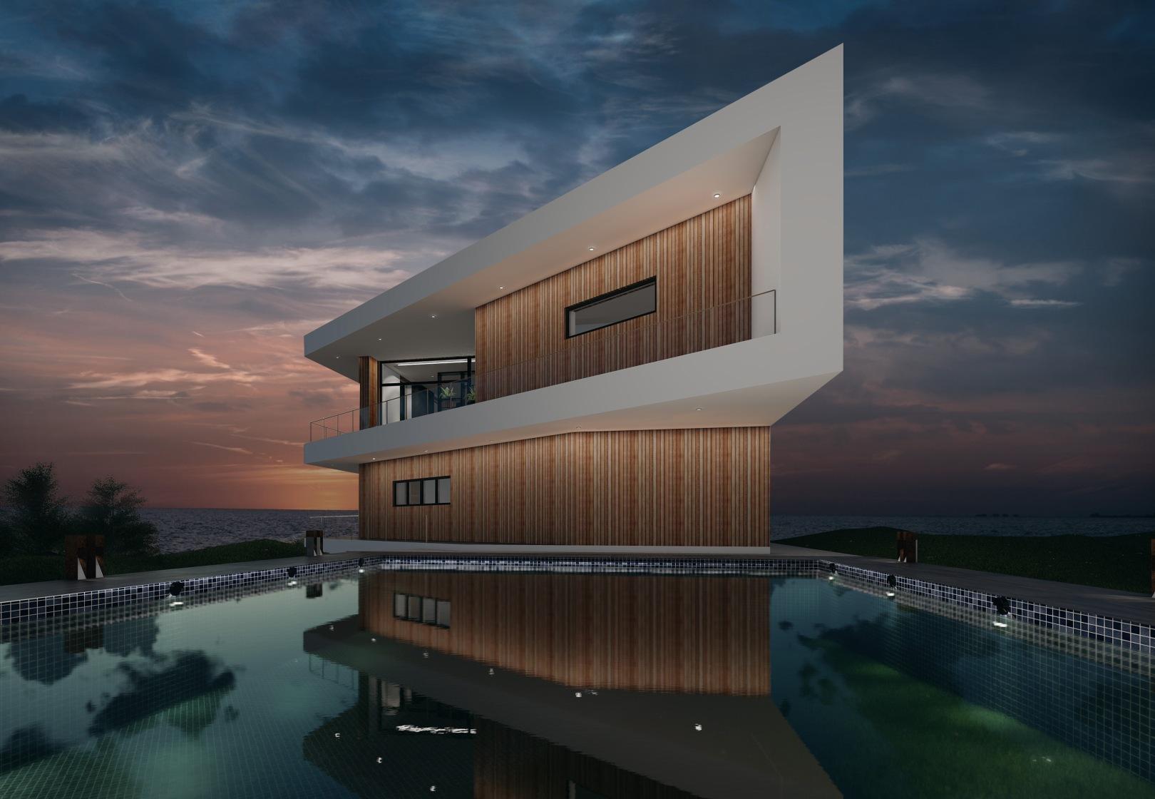 Ny moderne arkitekttegnet villa i funkisstil